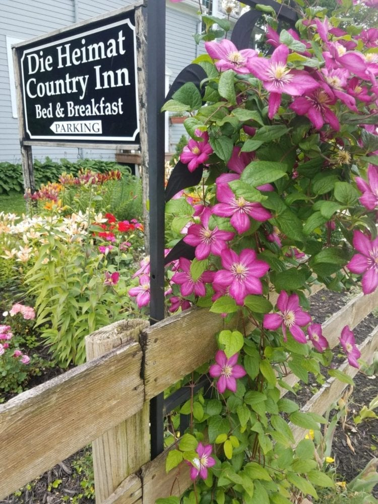 Die Heimat Country Inn Bed and Breakfast sign with purple clematis growing next to it.