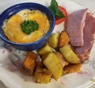 Breakfast with potatoes and ham